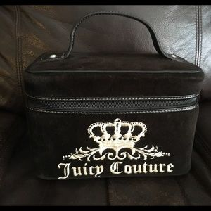 Juicy Couture Velour Logo Train Case Cosmetic Bag